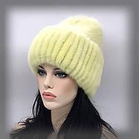 """Меховая шапка на трикотаже """"Сильвия"""" (желтая)"""