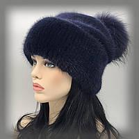 """Меховая шапка на трикотаже """"Сильвия с бубоном"""" (синяя)"""