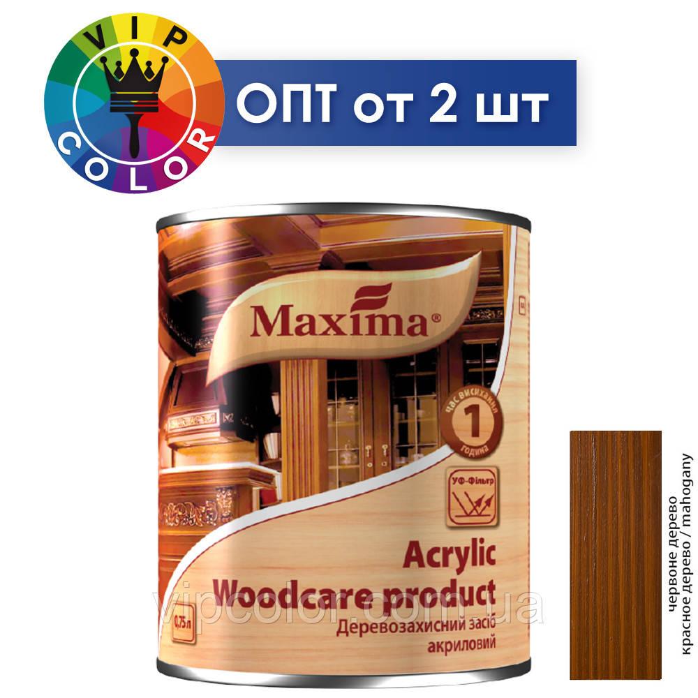 Maxima деревозащитное средство акриловое - красное дерево, 2.5 л