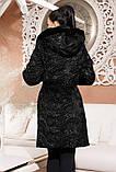 Шуба женская с капюшоном и поясом из эко-меха под каракуль - 217 черная, фото 2