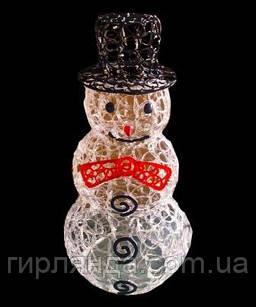 Сніговик акриловий з чорною шляпою