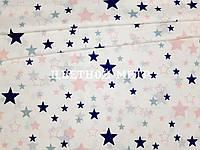 Ткань польский хлопок польская звезды синие и белые большие и маленькие на розовом