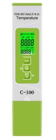 Комбинированный TDS/EC/SALT/S.G./Temp - метр - С-100A ( с подсветкой дисплея)