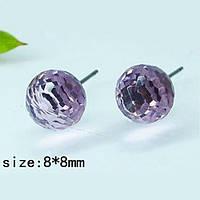 Серьги гвоздики с круглым фиолетовым кристаллом