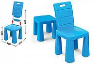 Детский стул-табурет со спинкой Doloni Toys пластиковый, складной 30х60х30 см, синий