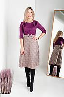 Двухфактурное женское платье из замши цвета марсала, фото 1
