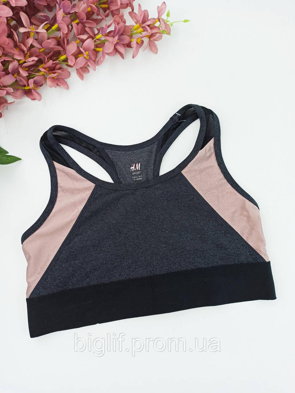 Топик для фитнеса и йоги H&M без поролона удлиненный S черный с какао (080501119)