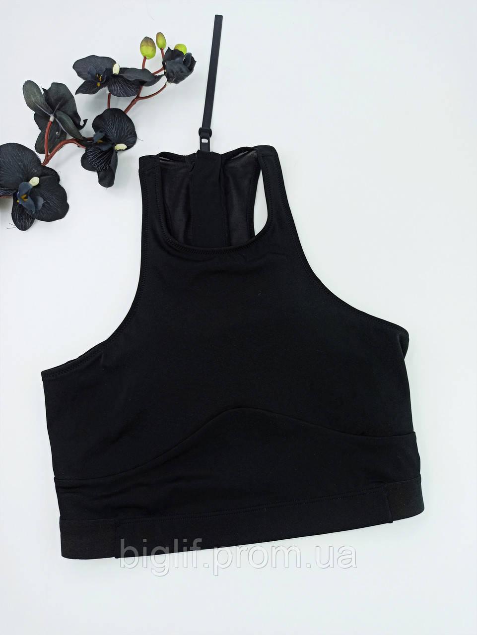 Оригинальный качественный топ под горло H&M удлиненный на молнии L черный (08069891)