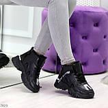 Высокие черные женские зимние кроссовки с рефлективными светоотражающими вставками 36-22,5 / 37-23см, фото 3