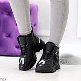 Высокие черные женские зимние кроссовки с рефлективными светоотражающими вставками 36-22,5 / 37-23см, фото 5