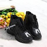 Высокие черные женские зимние кроссовки с рефлективными светоотражающими вставками 36-22,5 / 37-23см, фото 9