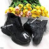Высокие черные женские зимние кроссовки с рефлективными светоотражающими вставками 36-22,5 / 37-23см, фото 10
