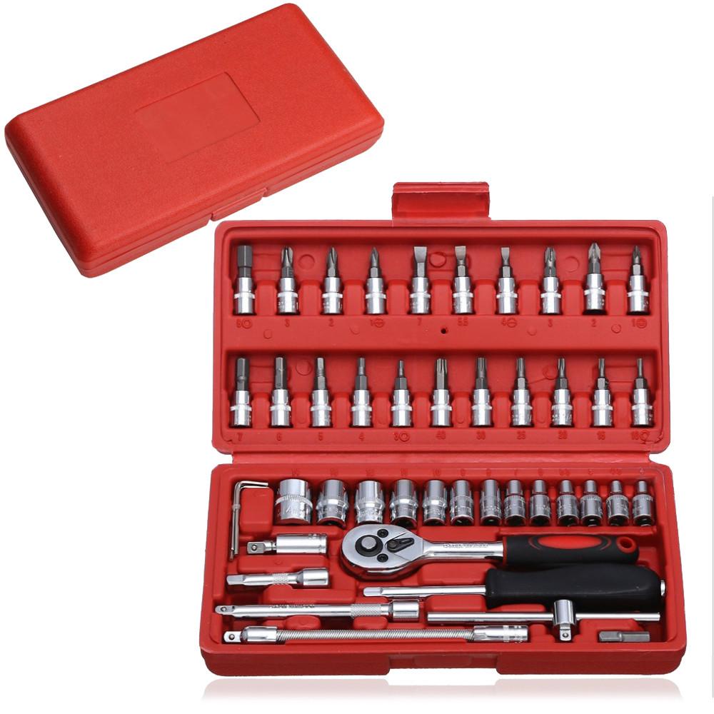 Набор торцевых головок и отверточных насадок Mechanic 46 шт. комплект универсальных ручных инстументов из хромованадиевой стали в кейсе Красный