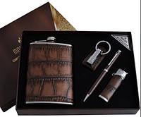 Подарочный набор moongrass 4в1 фляга,зажигалка,брелок,ручка al-001