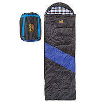 Спальний мішок ковдра з капюшоном демісезонний GREEN CAMP 230 х 80 см Чорний-синій (ЗМІ GC-312-6)