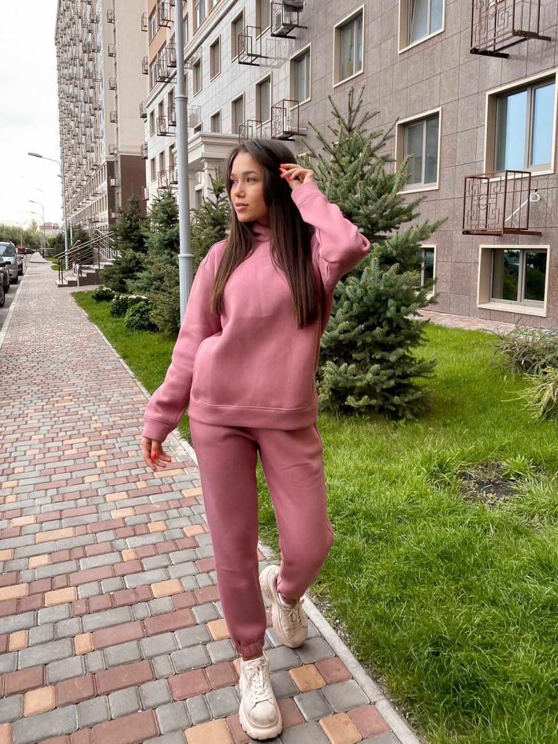 Женский спортивный костюм с худи на флисе размеры S, M, L, XL розовый