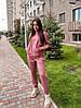 Женский спортивный костюм с худи на флисе размеры S, M, L, XL розовый, фото 4