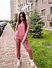 Женский спортивный костюм с худи на флисе размеры S, M, L, XL розовый, фото 3