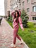 Женский спортивный костюм с худи на флисе размеры S, M, L, XL розовый, фото 6