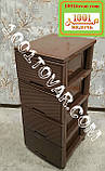 2 шт. Комод пластиковый Ротанг коричневый, 4 ящика, Алеана, фото 2