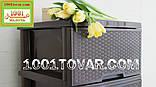 2 шт. Комод пластиковый Ротанг коричневый, 4 ящика, Алеана, фото 3