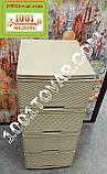 2 шт. Комод пластиковый Ротанг коричневый, 4 ящика, Алеана, фото 5