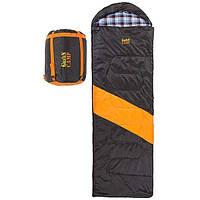 Спальний мішок ковдра з капюшоном демісезонний GREEN CAMP 230 х 80 см Чорний- помаранчевий (GC-312-5)