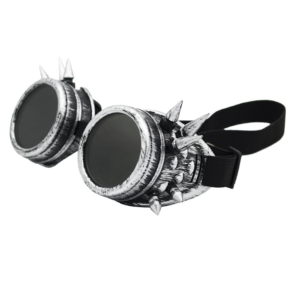 Очки Стимпанк цвет состаренный стальной с шипами (SPG-009)