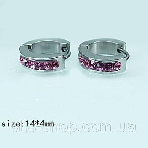 Родированные Серьги дорожка с маленькими фиолетовыми фианитами