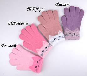 Перчатки Котик черный т.пудра