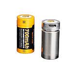 Акумулятор 16340 Fenix 700 mAh Li-ion micro usb зарядка, фото 2
