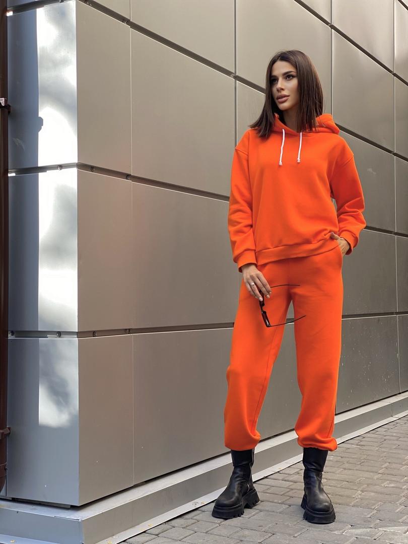 Р. 42-52 Женский спортивный костюм с худи на флисе оранжевый