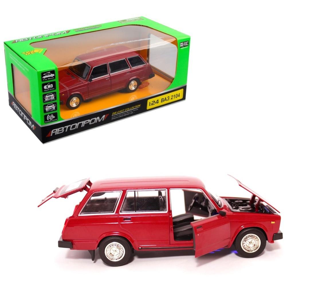 Игровая машинка металлическая Автопром модель ВАЗ 2104 1:24 свет передних и задних фар (3 цвета)