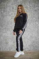 Спортивный костюм теплый Adidas Женский свитшот штаны лампасы Флис LUX Реплика (Размер S) Black