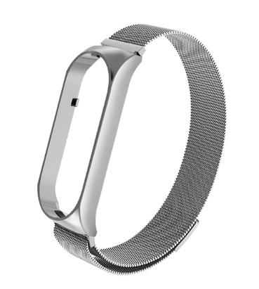 """Металлический браслет """"миланская петля"""" с магнитной застёжкой для фитнес трекера Xiaomi mi band 5 Цвет Серебро"""