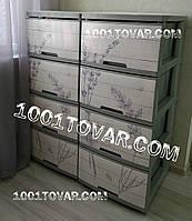 2 шт. Комод пластиковый, с рисунком Лаванда серая, 4 ящика, Алеана