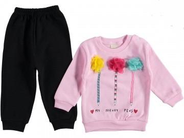 Костюм для девочки 6-12 месяцев Турция розовый с черным 312981