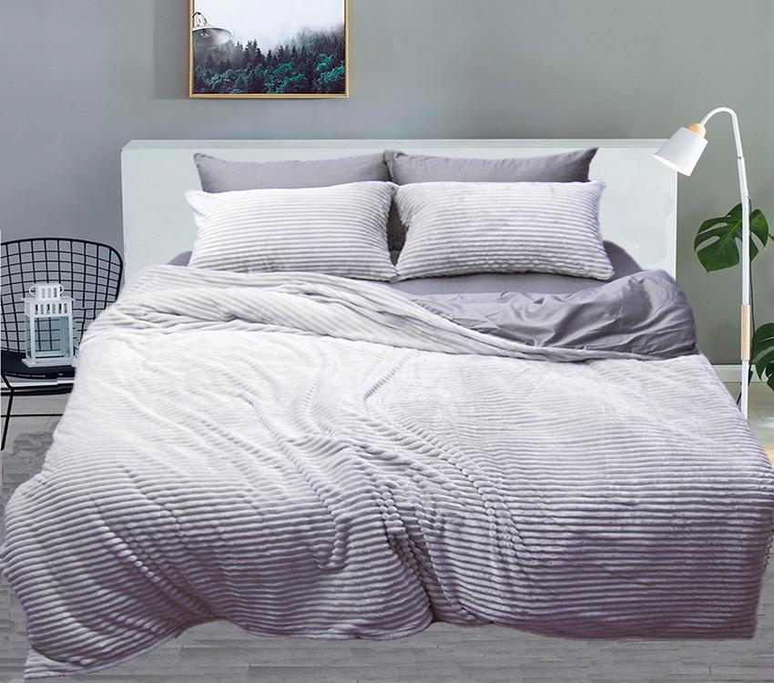 Евро комплект постельного белья зима/лето Grey