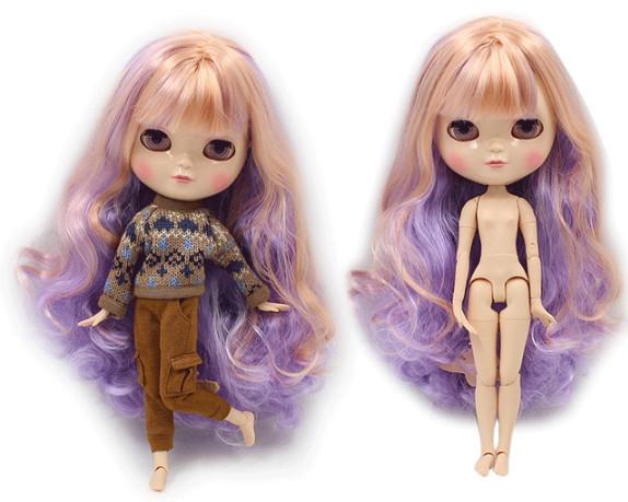 Лялька Айсі з фіолетово-рожевими волоссям з чубчиком сестра Блайз на тілі азон ICY doll