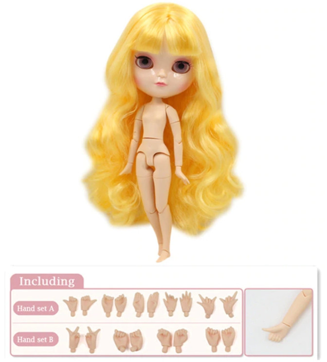 Кукла Айси с желтыми волосами с челкой сестра Блайз на теле азон ICY doll
