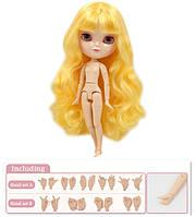 Кукла Айси с желтыми волосами с челкой сестра Блайз на теле азон ICY doll, фото 1