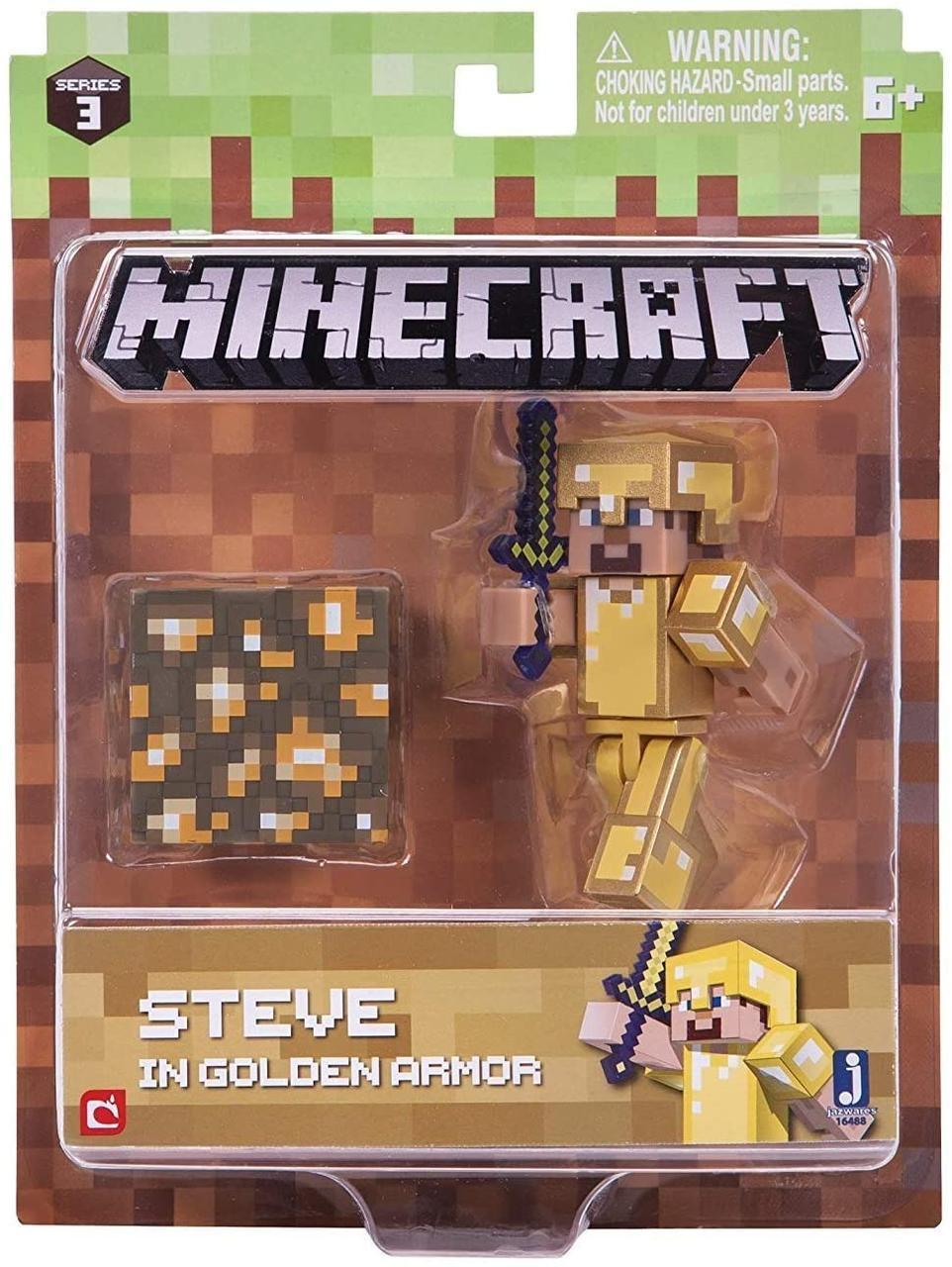 Стив в золотой броне фигурка Майнкрафт Minecraft Steve in Gold Armor pack оригинал
