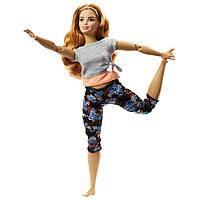 Лялька блондинка йога Barbie made to move curvy Барбі рухайся як я повна в строкатих Безмежні руху, фото 1