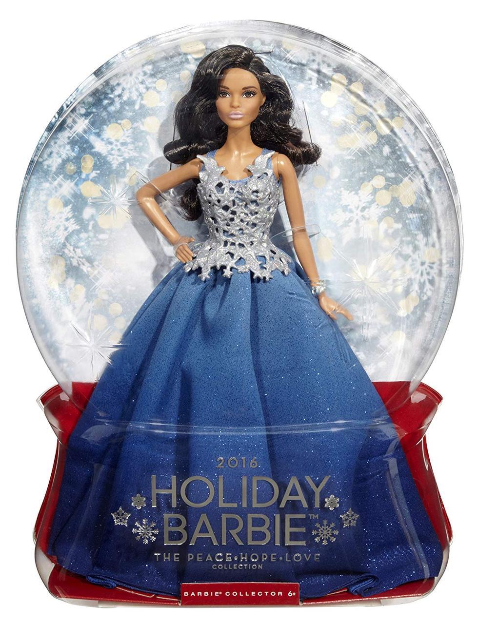 Кукла Барби Холидей праздничная в синем платье Barbie Holiday 2016 темная новогодняя афроамериканка