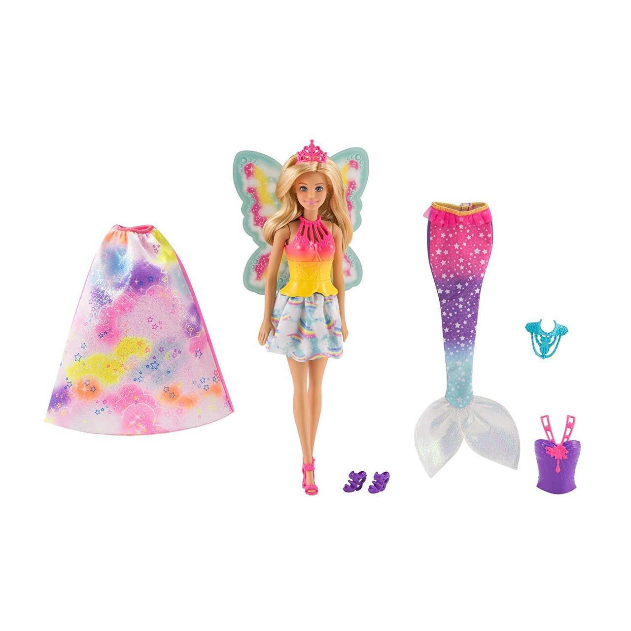 Кукла Барби Дримтопия Волшебное перевоплощение Barbie Dreamtopia Rainbow Cove Fairytale Dress Up Set светлые в