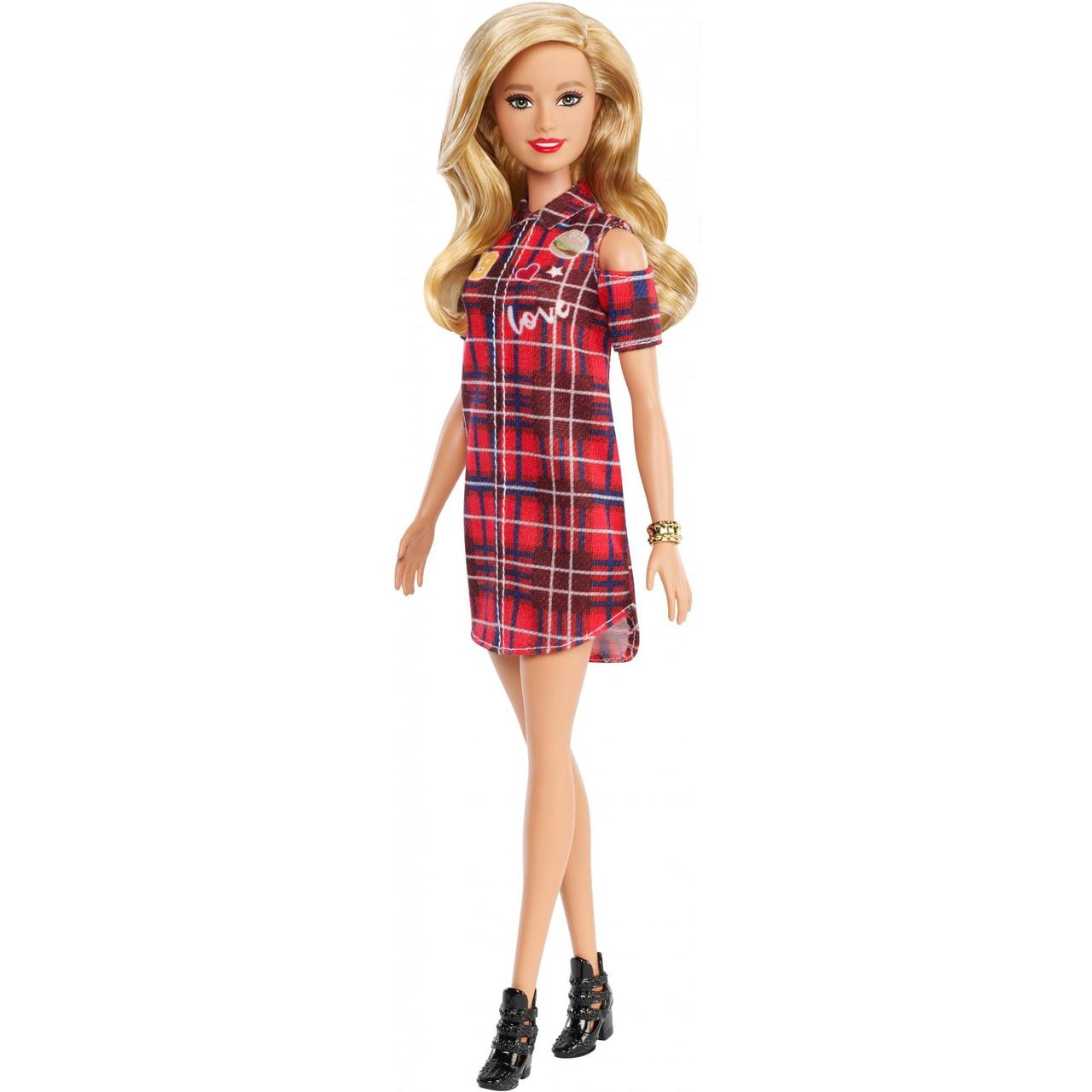 Кукла барби Фашионистас модница красное платье в клетку Barbie Fashionistas Plaid Dress блондинка