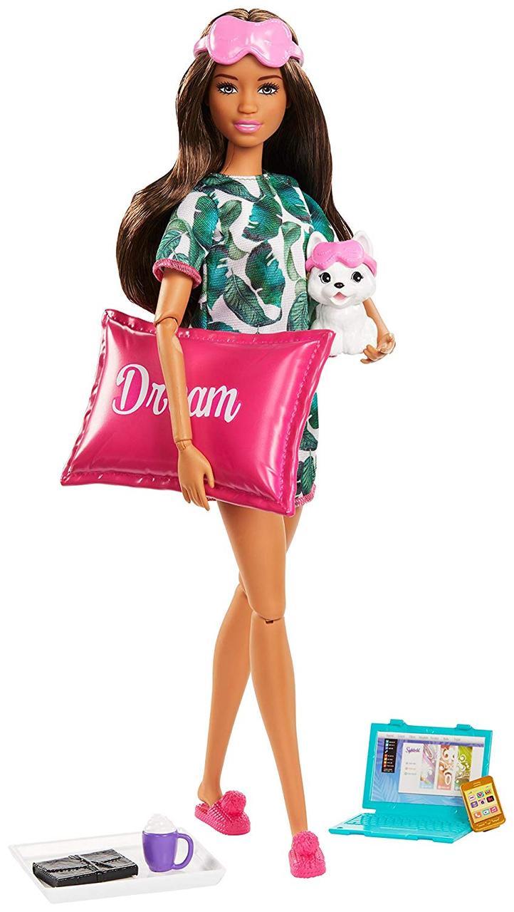 Уцінка Лялька Барбі Релаксація з цуценям і подушкою Barbie Relaxation Doll Brunette with Puppy оригінал