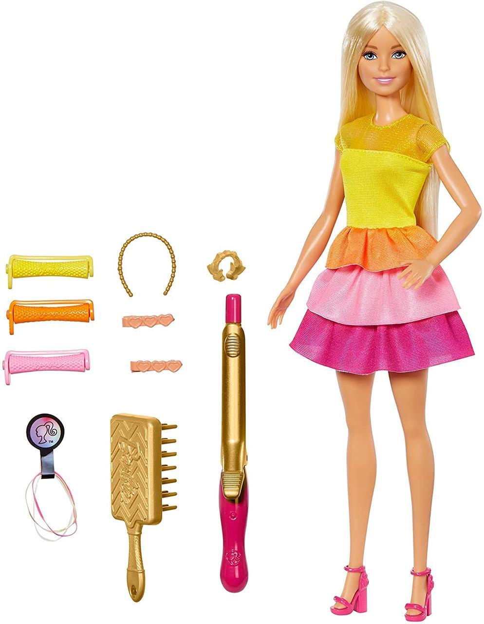 Набор кукла Барби Роскошные волосы локоны с плойкой Barbie Ultimate Curls Doll Blonde оригинал Mattel