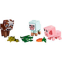 Набір фігурок тварини Майнкрафт свинка овечка корівка Minecraft Baby Animals Comic Mode оригінал Mattel, фото 1