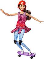 Лялька Барбі Скейтбордистка йога Barbie made to Move Skateboarder зі скейтом безмежні руху рухайся як, фото 1